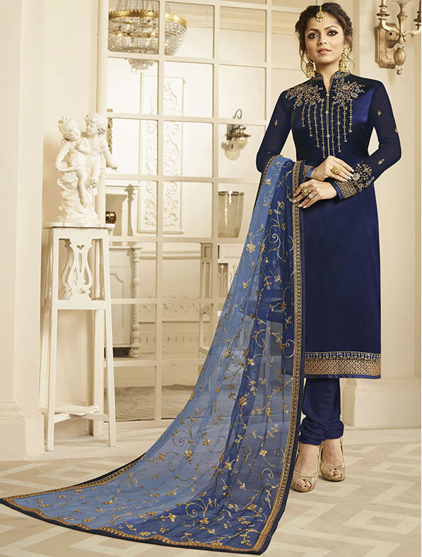 Satin Georgette Salwar Kameez In Navy Blue