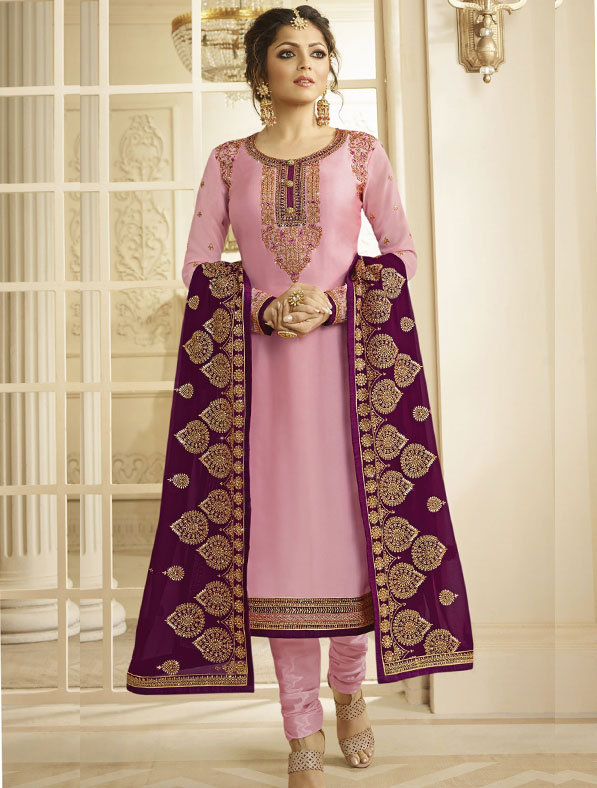 Satin Georgette Salwar Kameez In Pink