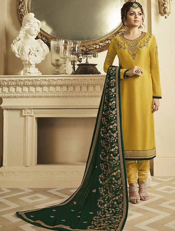 Satin Georgette Salwar Kameez In Yellow
