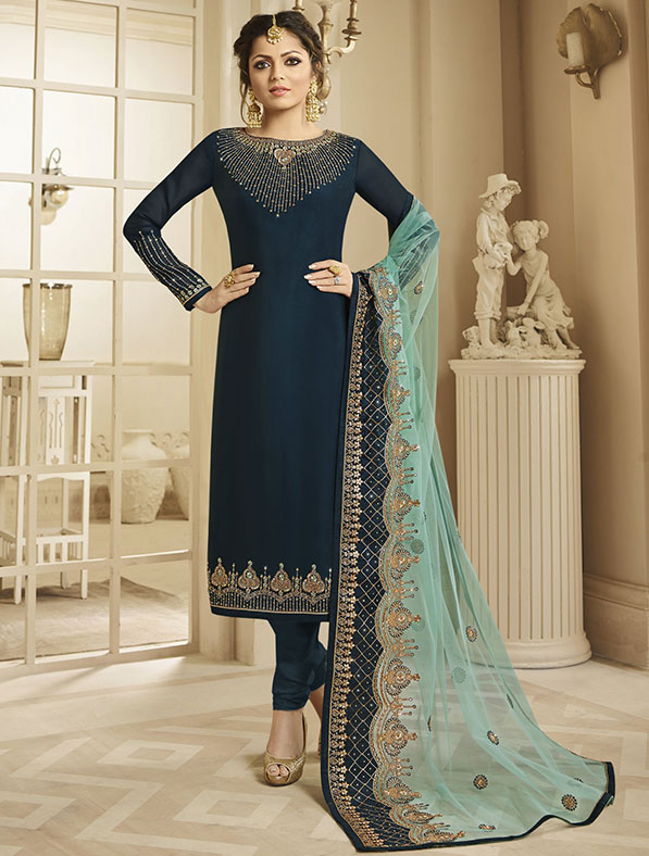 Satin Georgette Salwar Kameez In Dark Rama