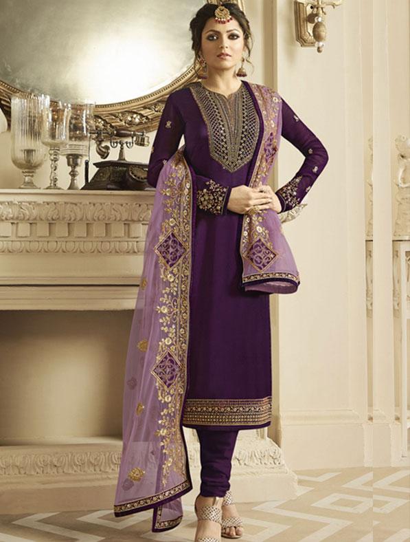 Satin Georgette Salwar Kameez In Violet