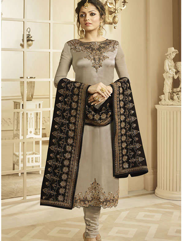 Satin Georgette Salwar Kameez In Brown