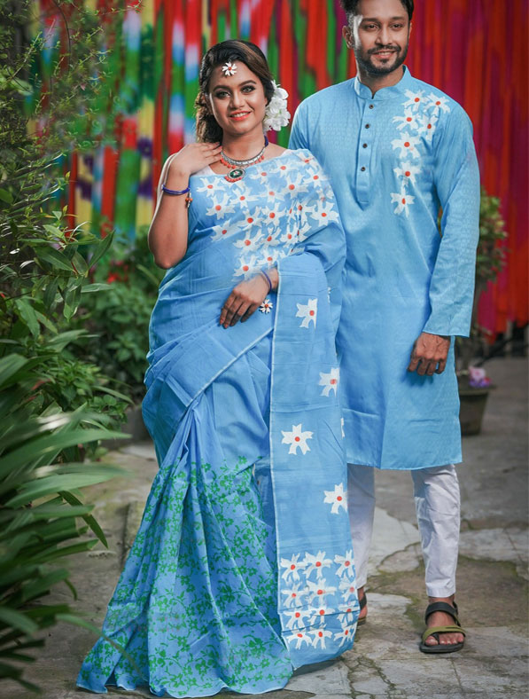 Special Half Silk Saree & Panjabi couple set