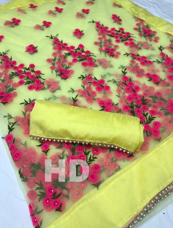 Premium Net Saree with Embroidery Work