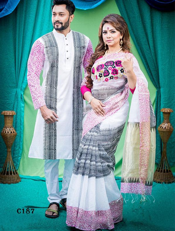 Special Half Silk Saree & Panjabi couple set