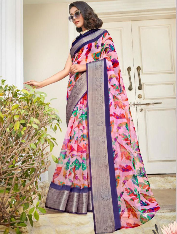 Digital Printed Organza Silk Saree