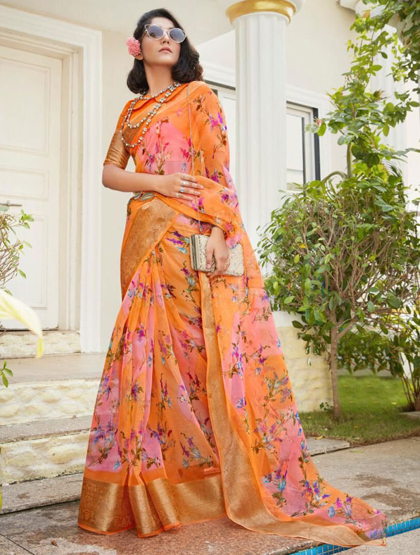 Digital Printed Organza Silk Saree