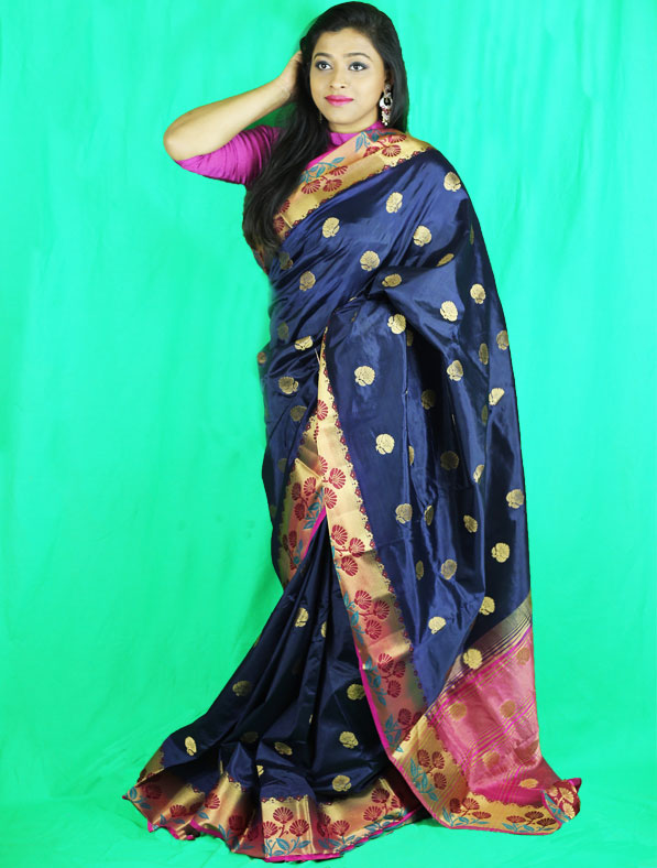 Woven Chanderi Silk Saree in Navy Blue
