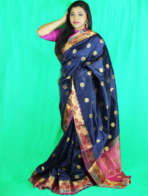 Woven Chanderi Silk Saree in Navy Blue
