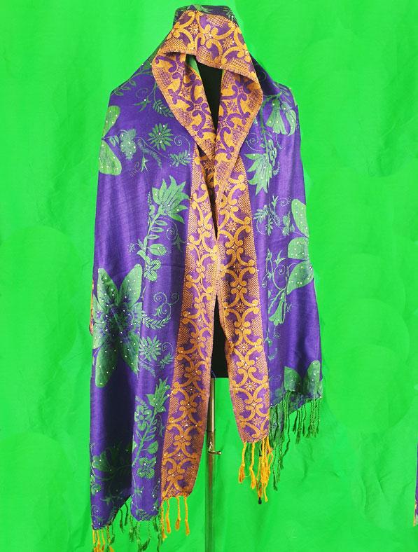 Cotton Shawl in Purple Color