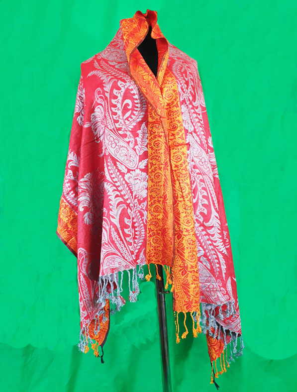 Cotton Shawl in Red Color