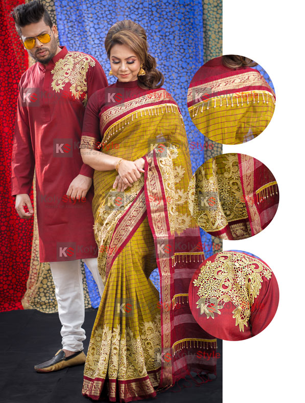Special Maslise Cotton Saree & Panjabi couple set