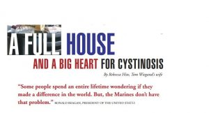 Cystinosis Foundation newsletter applauds charity work of Kontenders and Tom Wiegand