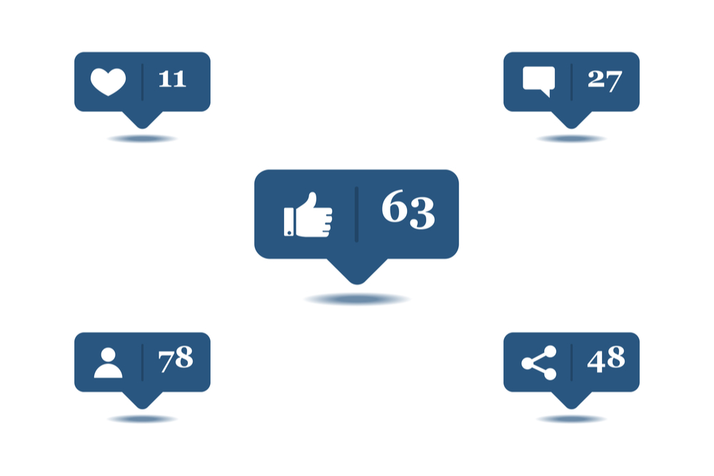 Compartilhamentos, curtidas e comentários nas redes sociais