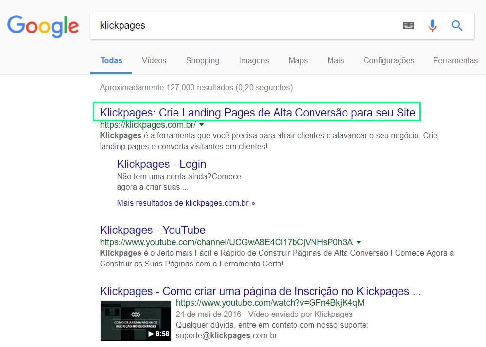 O título da página é o que aparece nos resultados de busca