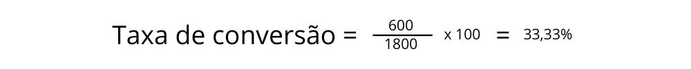 Exemplo 2 de taxa de conversão