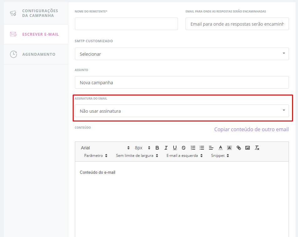 Passo 3 para configurar assinatura de email no Klicksend