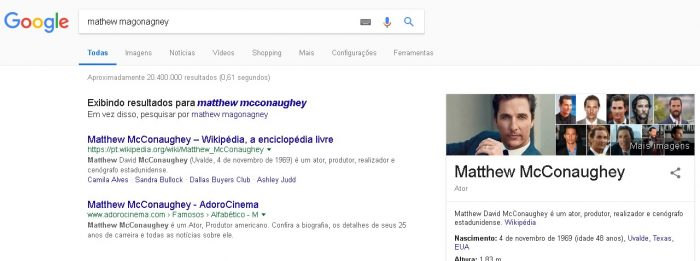 O que é semântica Matthew McConaughey