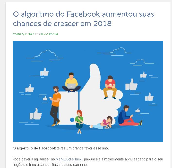 Notícias algoritmo do facebook