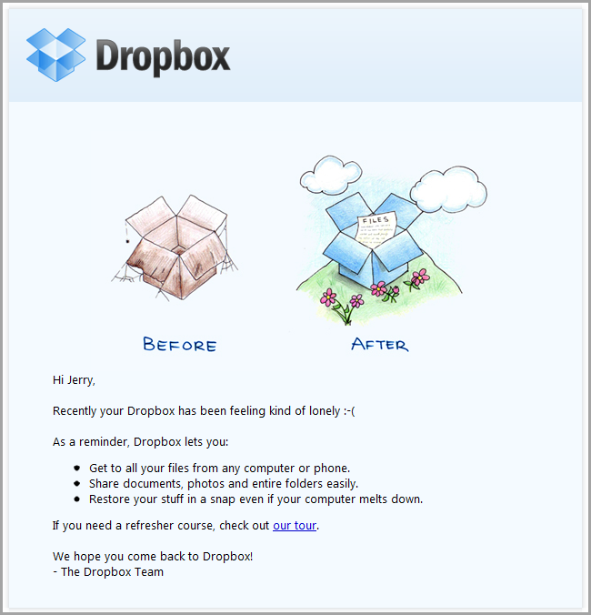 Email de retenção Dropbox