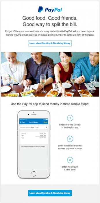 Email relacional ou informativo Pay Pal