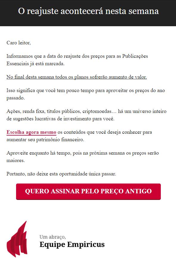 Modelo de email promocional da Empiricus