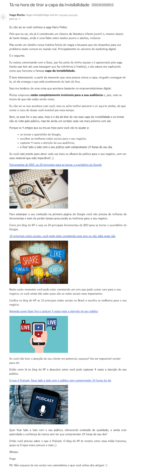 Exemplo de email bem escrito
