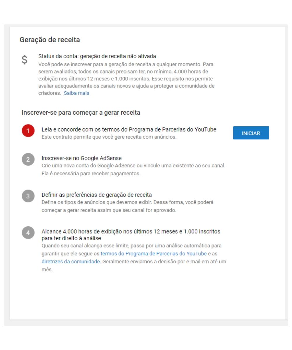 Aceite os Termos do Programa de Parcerias do YouTube