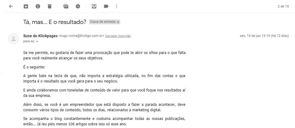 Email enviado pelo Klickpages