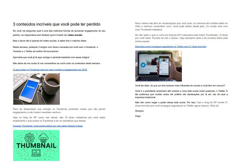 Newsletter com imagens