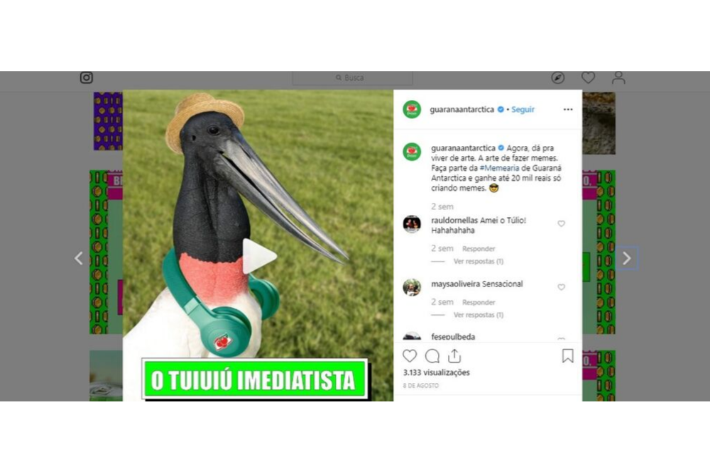Página Guaraná Antarctica no Instagram