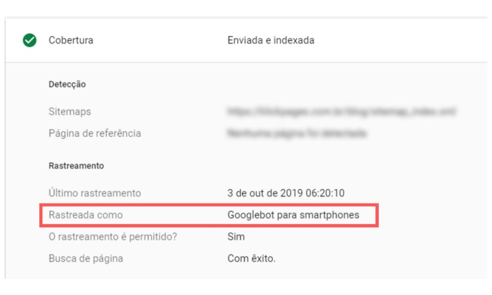 Cobertura do Google Search Console mostrando que um site já está no mobile first index