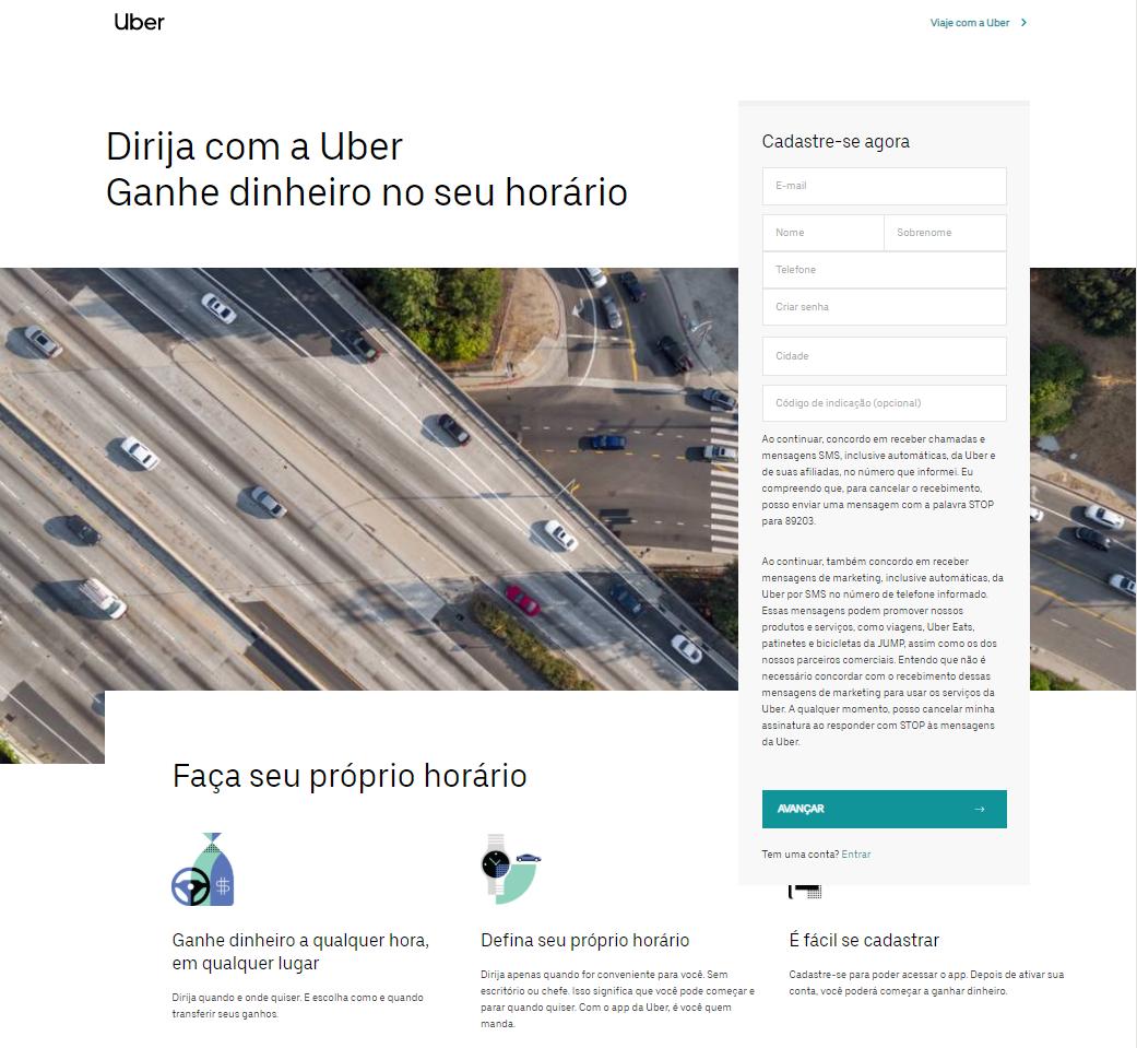 Exemplo de landing page da uber