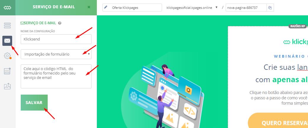 Configure o serviço de email