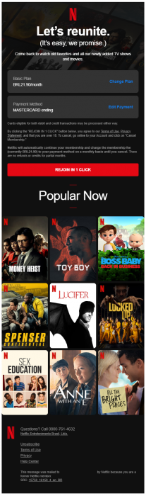 Exemplo 2 - Email de retenção da Netflix