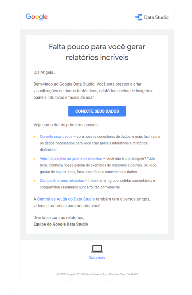 Email de boas-vindas Google Data Studio