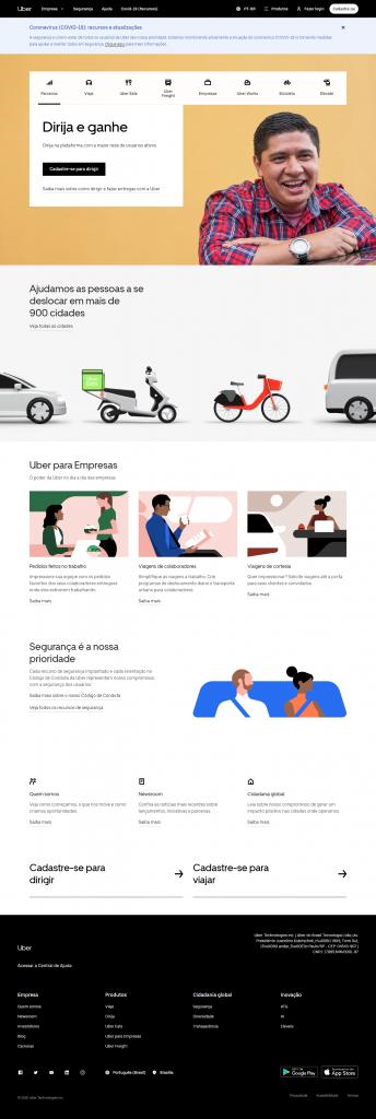 homepage da uber