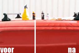 Rode auto poetsen