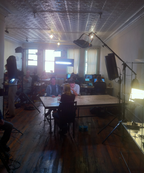 Behind the scenes: NBC's Kate Snow interviews Kickstarter's Perry Chen and Yancey Strickler.
