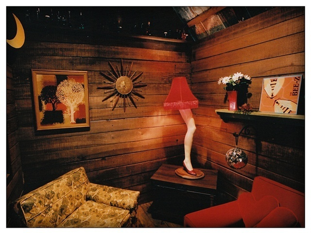 "Interior view of The Love Shack. The leg lamp is inspired by the film ""A Christmas Story."""