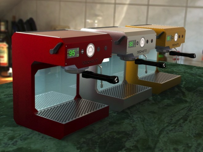 Robot-controlled espresso machine.