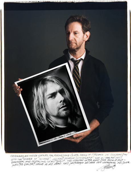 Photographer Mark Seliger showing his iconic portrait of Kurt Cobain.