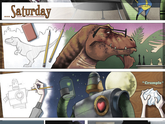 "Panel illustrations from the graphic novel ""Saturdays."""