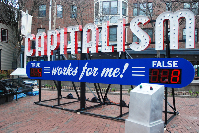 "Steve Lambert's ""Capitalism Works for Me!"" installation in Boston."