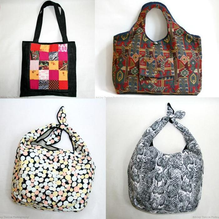 Denim Tote, Tapestry Tote, and Tie Tops
