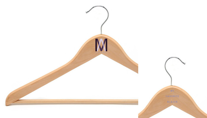 "For Twenty-five, we'll wrap and send a special hanger your way for your favorite blazer. On the front is our logo, and on the back it says "" My Favorite Blazer"""