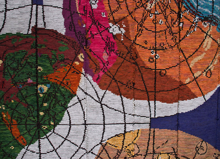 "Detail of Sherri Smith's ""Major Moons of an Outer Planet"" / 6' x 6' / woven fiber / 2010"