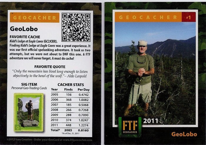 #1 FTF Geocacher Trading Card