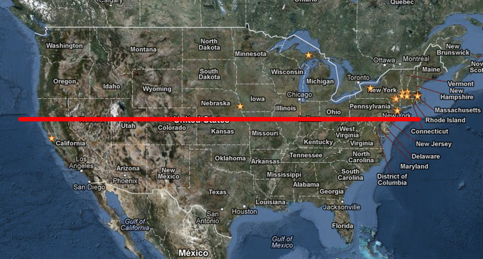 Where the Fortieth Parallel crosses the US. Click to see the Fortieth Parallel on Google Maps.