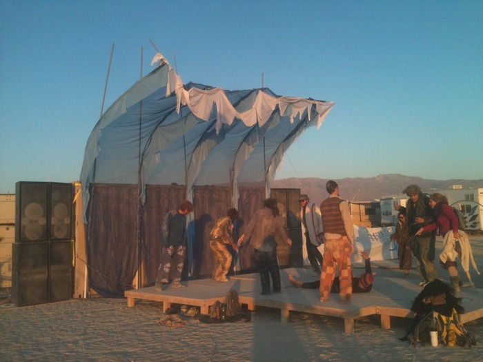 The ~WaVe~ 1.0 at Burning Man 2011 in the early morning sunrise.